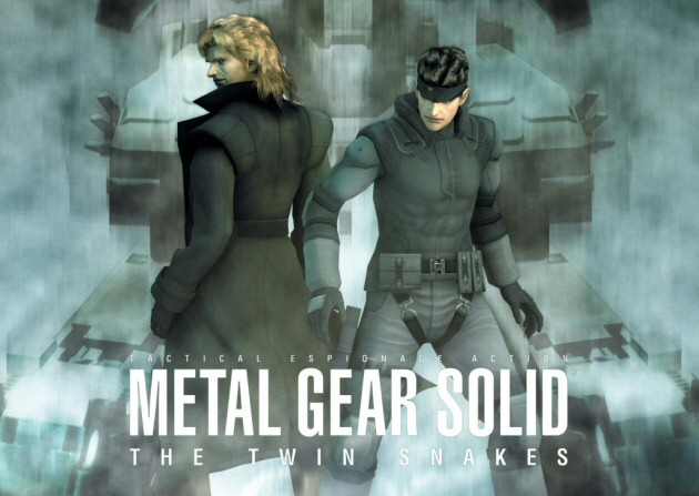 Liquid and Solid Snake standing next to each other on the cover of Metal Gear Solid Twin Snakes