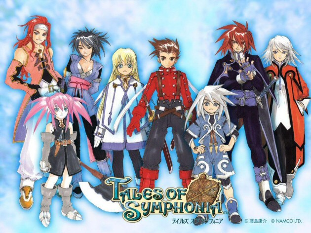 Main characters of Tales of Symphonia standing next to each other