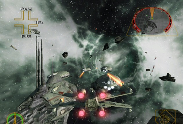 X-Wing shooting down enemy ships in Star Wars Rogue Squadron 2