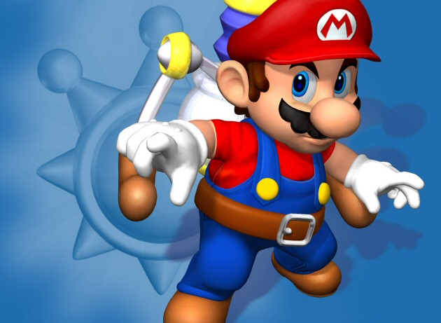 Mario holding his FLUDD in a Super Mario Sunshine Wallpaper