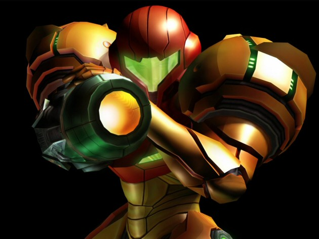 Samus pointing her gun in a Metroid Prime Wallpaper