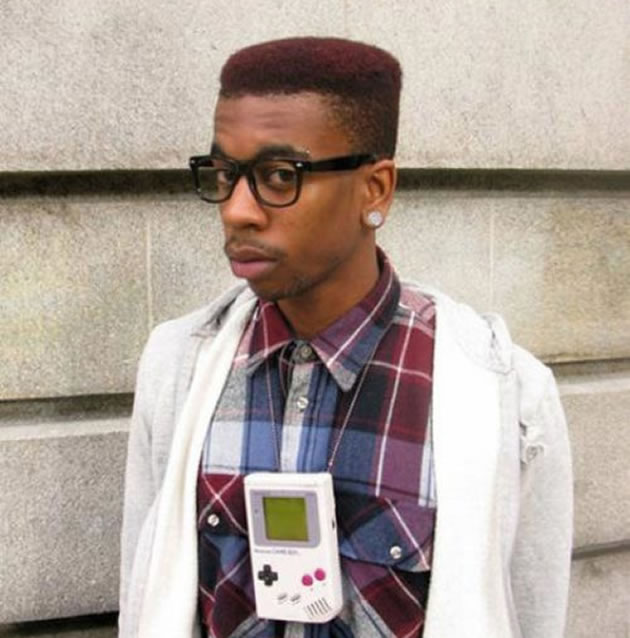 Hipster with Nintendo Gameboy necklace