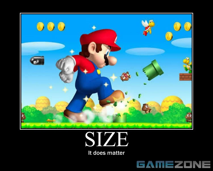 Mario Size Matters Motivational Poster; Size: It does matter