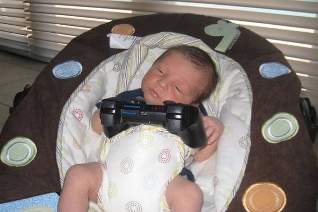 Baby playing PS3