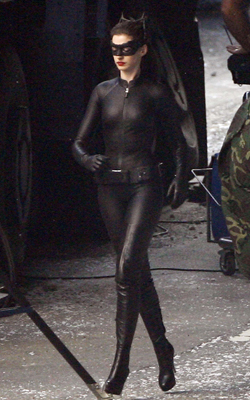 Anne Hathaway as Catwoman on the set of The Dark Knight Rises