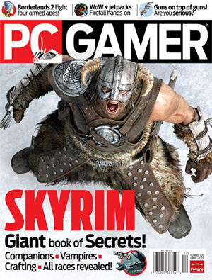 Skyrim on cover of PC Gamer