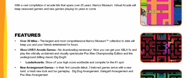 Namco Museum: Virtual Arcade - Feature