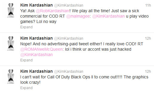 tweet kim kardashian twitter call of duty black ops 2