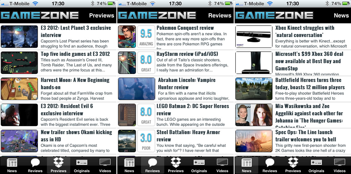GameZone iPhone app