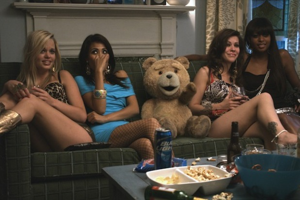 Ted (2012) Screenshot - Ted on couch with women