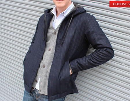 betabrand.com navy executive pinstripe hoodie