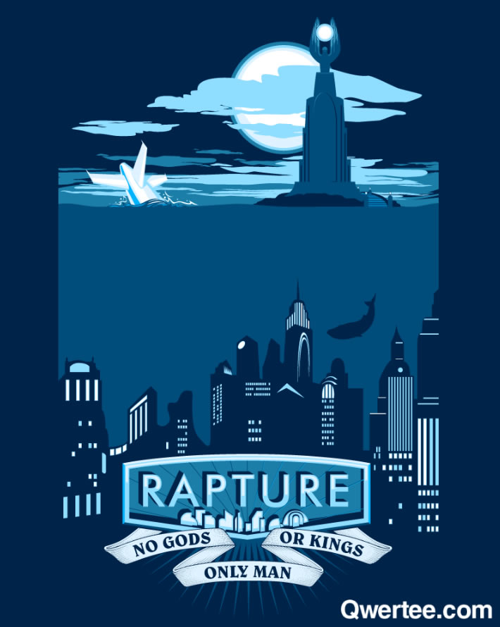 """Somewhere beyond the sea"" Rapture Bioshock shirt; Qwertee.com"