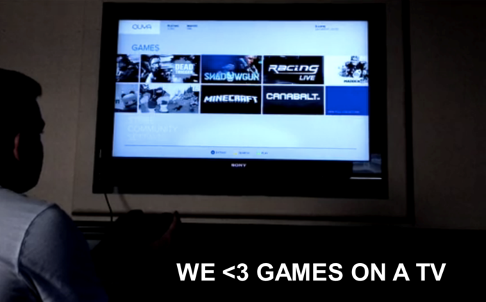 We heart games on a TV