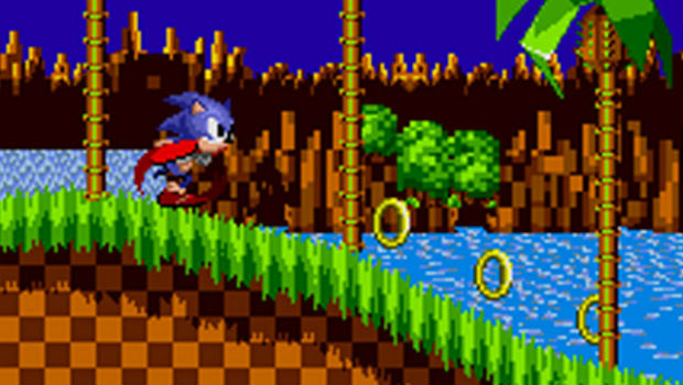 Sonic speeds to collect all the rings.