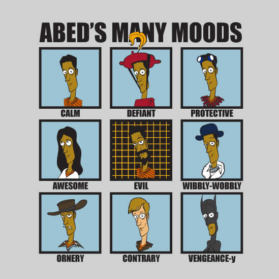 abed's many moods shirt