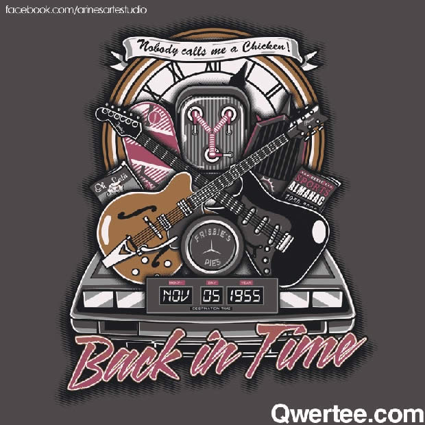 """back in time"" back to the future tshirt qwertee.com"