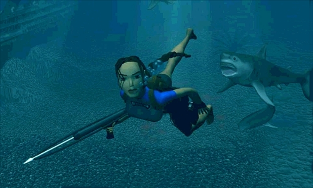 Tomb Raider swimming