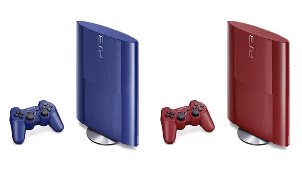 PlayStation 3 Super-slim Azurite Blue and Garnet Red