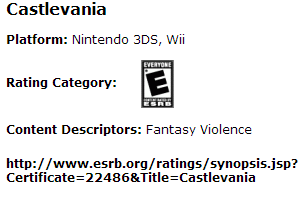 Castlevania ESRB 3DS 