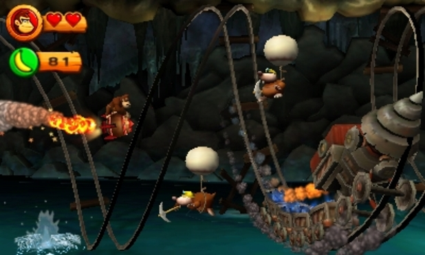 Donkey Kong Country Returns 3D Cave Gameplay