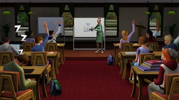 The Sims 3 University Life classroom
