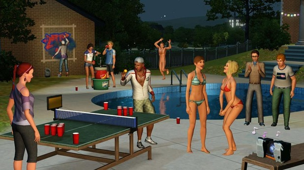 The Sims 3 University Life juice pong
