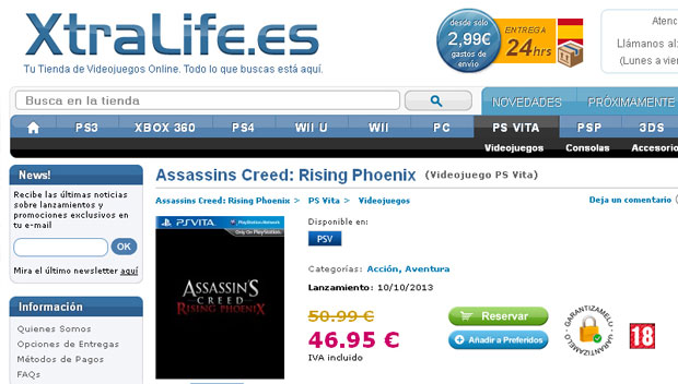 Assassin's Creed Rising Phoenix Vita listing