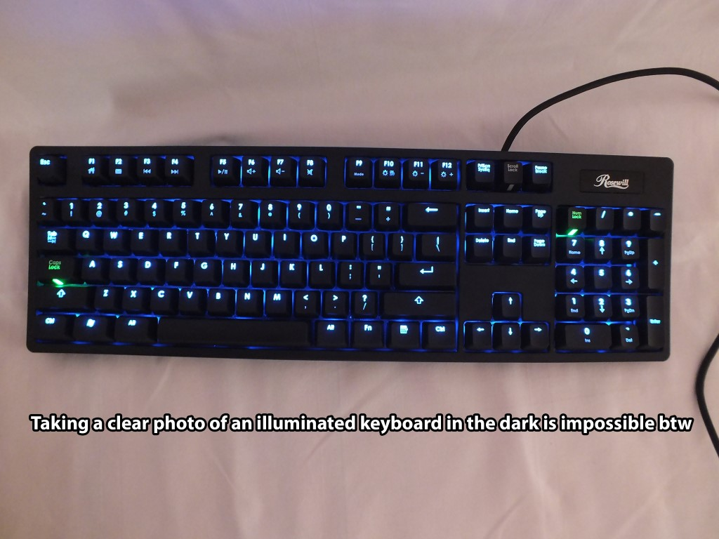 Keyboard in the dark (read caption)