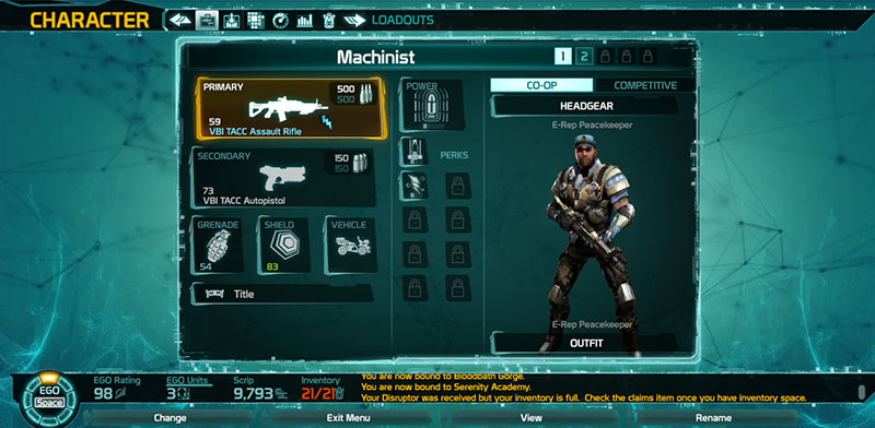 Defiance - Character Loadout screen