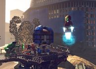 Lego Marvel Super Heroes, Hulk fighting Sandman, Iron Man flying
