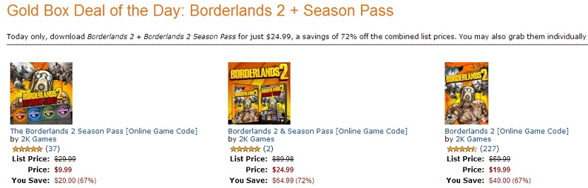 Borderlands 2 Deal of the Day Amazon