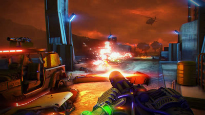 Far Cry 3: Blood Dragon Screenshot - far cry 3: blood dragon gatling gun and explosion