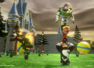 disney infinity toy box mode in syndrome holding dash holding buzz in front of castle