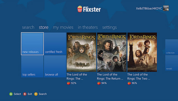 Xbox 360 Screenshot - Flixster on Xbox 360