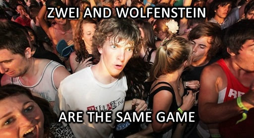 sudden clarity clarence meme, zwei is wolfenstein