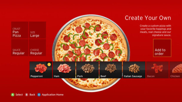 Pizza Hut delivery app xbox 360