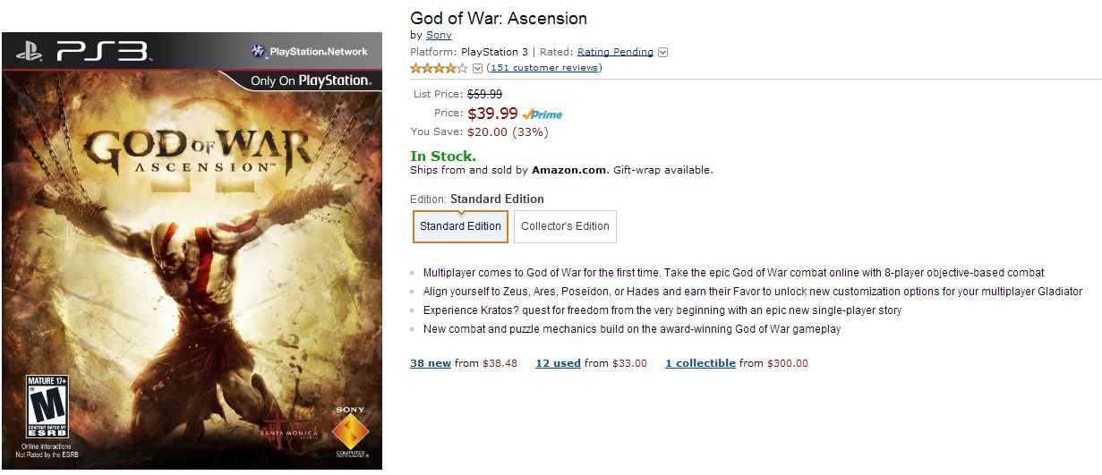 God of War: Ascenion Amazon Deal
