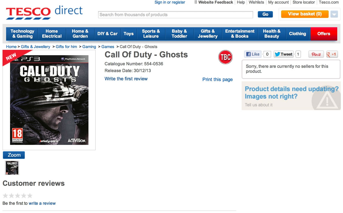 Call of Duty Ghosts listing
