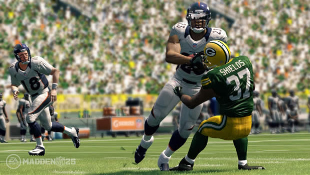 Madden 25 Willis McGahee Denver Broncos running over Sam Shields Green Bay Packers