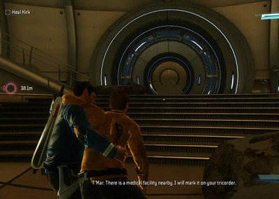 Star Trek Screenshot - Star Trek video game, PC, Spock carrying Kirk