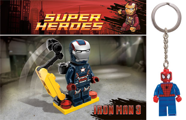 LEGO Marvel Super Heroes Iron Patriot mini-fig, Spidey Keychain