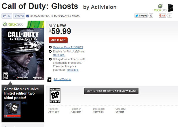 Call of Duty: Ghosts Product Page