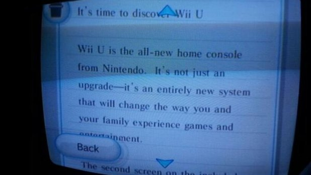 Wii console message about Wii U