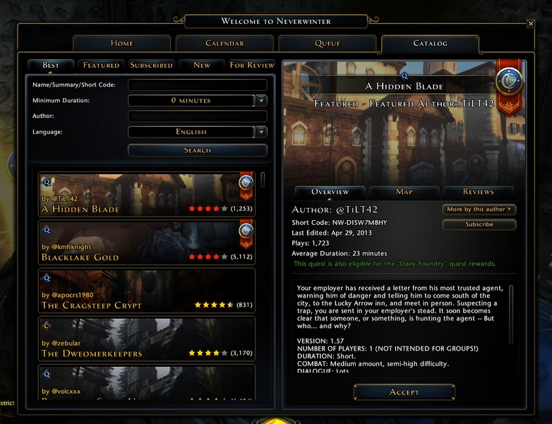 Neverwinter Foundry Quests