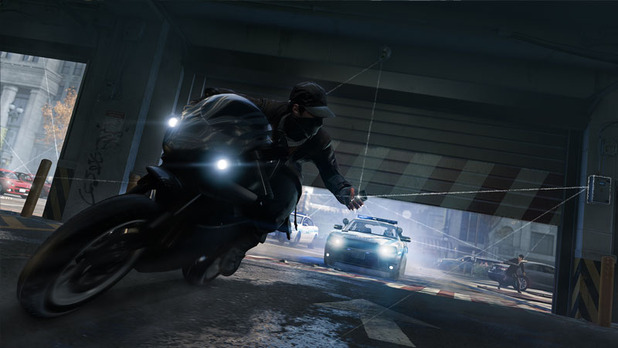 Watch Dogs riding a motorcycle