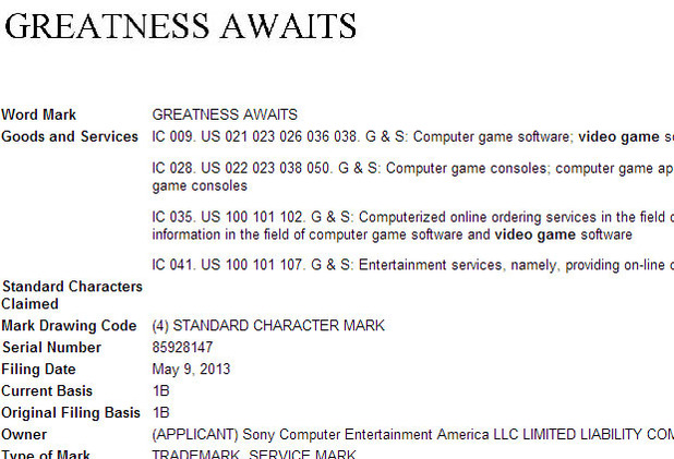 PS4 greatness awaits trademark