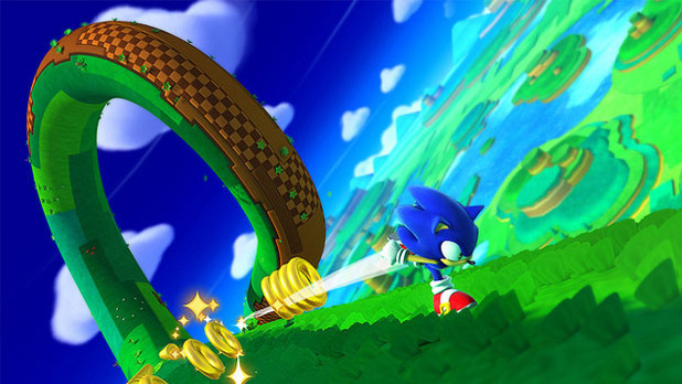 Sonic running and collecting rings