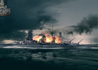 Battleships on fire