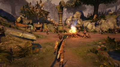 Fable Anniversary Screenshot - Running towards a campfire