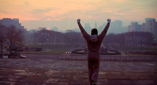 Rocky Balboa top of stairs